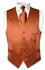 Biagio Men's SILK Dress Vest & NeckTie Solid BURNT ORANGE Color Neck Tie Set