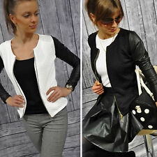 Women's Quilted PU Leather Jacket Long Sleeve Zip Blazer Motorcycle Biker Coat