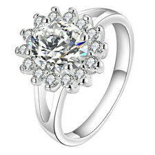 Fashion Women Bridal's 925 Silver Plated & Zircon crystal Sun Flower Finger Ring