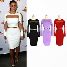 Celebrity Hollow Out Belt Wear To Work Women's Evening Party Wiggle Pencil Dress