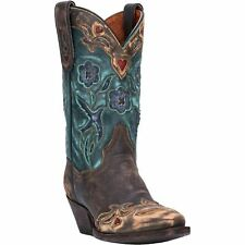 Dan Post Vintage Bluebird DP3544 Womens Chocolate/Teal Leather Western Boots