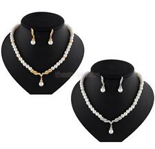 Women Crystal Pearl Silver /Gold Plated Pendant Necklace Earrings Jewelry Set