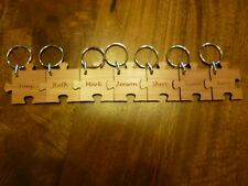 Personalised Jigsaw Keyrings, fit together:Multiple Wood keyring. Family/Friends