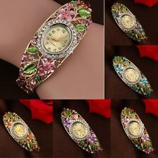 Women Bangle Crystal Colorful Flower Bracelet Quartz Watch Wristwatch Hot Shell
