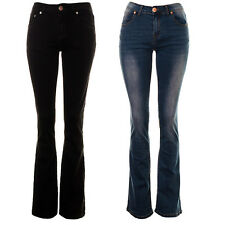 Women's High Rise Kick Flare Jeans Ladies Bootcut Faded Coloured Denim Jeans