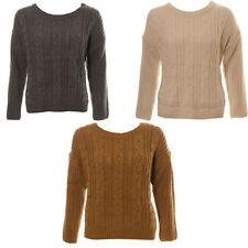 Women's Chunky Cable Knitted Jumper Ladies Thick Warm Winter Knitwear