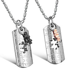 His and Hers Love Spot Puzzle 2-Tone Pendant Stainless Steel Couples Necklace