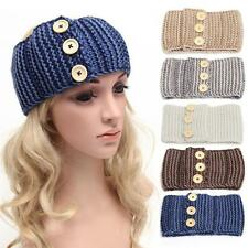 Stylish Winter Womens Lady Ear Warmer Three Buttons Knit Hairbands Headbands New