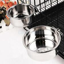 Stainless Steel Cage Coop Cup Bird Cat Dog Puppy Food Water Bowl pet 30/20/10oz
