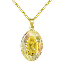 14K Tri Color Gold Virgin Mary Guadalupe Charm Pendant Necklace -  Figaro Chain