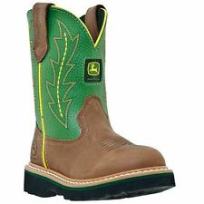 John Deere Johnny Popper JD3186 Youth Tan/Green Western Boots