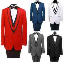 Slim Fit 1 Button Peak Shawl Lapel Satin Black Trim Collar Prom Tuxedo With Vest