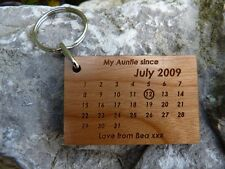 Personalised Auntie Keyring: Wood date keyring from Niece / Nephew to Aunt