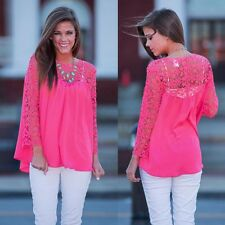 Sexy Women Lady Girl Hollow Lace Crochet Embroidery Long Sleeve Shirt Blouse Top