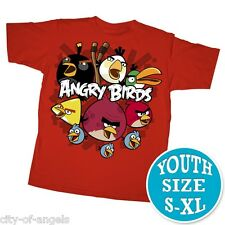 Angry Birds You U Mad Bro Youth Kids T Shirt Red 100% Cotton