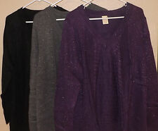 Faded Glory Women's Plus 3X V-Neck Cable Pullover Sweater Black/Charcoal/purple