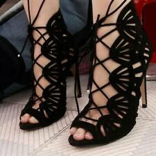 Zara Black Cage Wraparound Leather Lace Up Strappy Sandals Sold Out US6 - 7.5