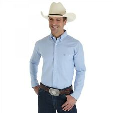 Men's Wrangler MGSB071 George Strait Collection White Blue Plaid Button Up Shirt