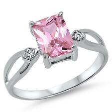 Sterling Silver.925 Princess Cut Pink& Clear CZ Engagement Wedding Fashion  Ring