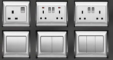Screwless Brushed Steel Chrome Switches and Sockets - Full Matching Range