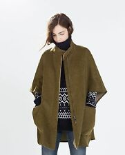Zara Wool Poncho Jacket Cape Olive Green all size Ref.2753/233 Bloggers Sold Out