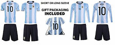 Argentina MESSI #10 Kids Soccer Jersey GIFT Set FREE Shorts Backpack Youth Sizes