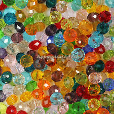 8mm Mixed Faceted Glass Crystal Rondelle Spacer Loose Bead (approx 20 mix color)