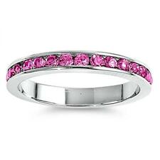 3mm Stackable Sterling Silver .925 Eternity Band Ring Rose Pink Crystals