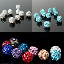 10/20/50pcs 10mm Clay Pave Rhinestone Crystal Rondelle Spacer Disco Ball Beads