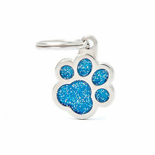 Custom Engraved Hand Made Glitter Metal Paw Dog Tag Cat Tag Pet Tag ID Name Tag