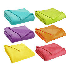 """Coral Plush Blanket Fleece Throw: Soft, 50"""" x 60"""", Bright Collection, Non Piling"""