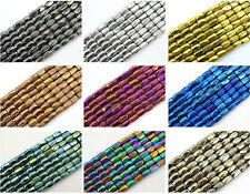 New 100Pcs Natural Magnetic Hematite Gemstone Faceted Tube Beads 5x8mm Metallic