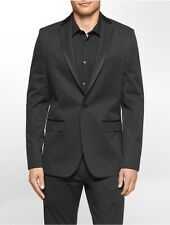 calvin klein mens slim fit satin trim dobby jacket
