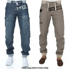 New Mens Enzo Cuffed Leg Mid Stonewash Denim Jogger Jeans Pants Trousers 28-48