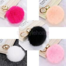 Fashion Real Rabbit Fur Ball Key Chain Purse Handbag Charm Key Finders Rings
