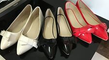 Beautiful Big Bow Ballerina Flats or Heels Shoes Red White Black or Pink