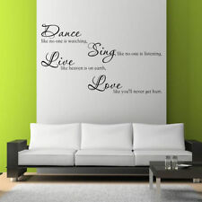 DANCE SING LIVE LOVE Room Wall Art Sticker Quote Decal Mural Stencil Transfer