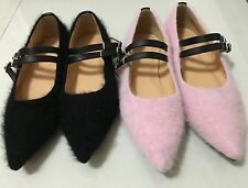 Shearling Faux Fur Mary Jane Ballerinas Flats Pink or Black 37, 38 or 39