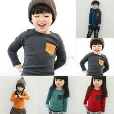 Autumn 2-7Y Child Kid Baby Long Sleeve T shirt Crewneck Blouse Basic Tee Top A38