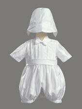 Infant Baby Boys White Shantung Romper Suit Christening Baptism Dedication 8820