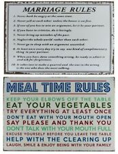 Retro Metal Tin Wall Hanging Plaque - Family Marriage Kitchen Mealtime Rules