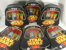 New 6 PEZ Star Wars Gift Tins Darth Vader R2D2 C-3PO Yoda In Display Limited