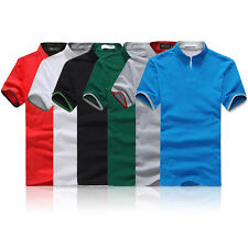 Classic Mens Polo Shirt Short Sleeve Plain Tops Summer Solid Color Fit T-Shirt