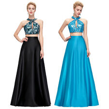 Sexy Bridesmaid Two-Piece Set Sequined Satin Long Gown Evening Prom Party Dress