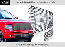 Fits 2009-2014 Ford F150 Stainless Steel Billet Grille Grill Insert Upper+Lower