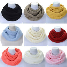 New Women Winter Warm Infinity 2 Circle Cable Knit Cowl Neck Long Scarf Shawl RD