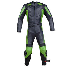 2PC MOTORCYCLE 2 PC LEATHER RACING SUIT ARMOR GREEN