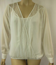 City Chic Ivory Sheer Lovely Lace Long Sleeve Top Plus Size L 20 XL 22 BNWT #I42