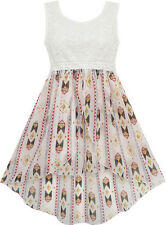 Sunny Fashion Girls Dress Hi-Lo Maxi Sequin Chiffon Lace Beige Size 7-14