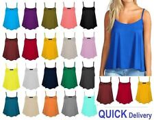 New Womens Ladies Cami Sleeveless Swing Vest Top Strappy Plain Plus Size CamiSml